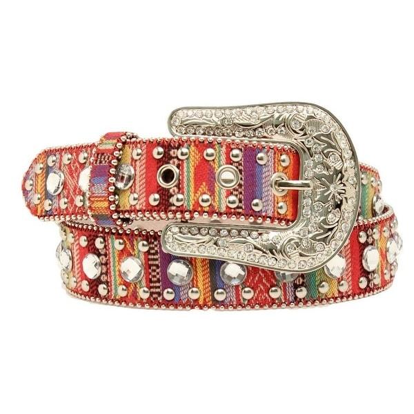 Blazin Roxx Western Belt Womens Fabric Crystals Multi-Color