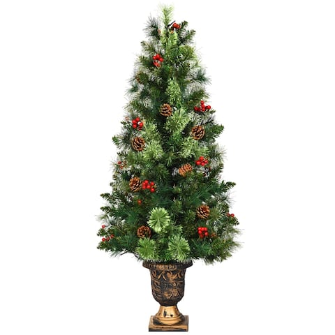 Costway 3ft Pre-Lit Christmas Entrance Tree In Urn w/ 40 LED Light Red