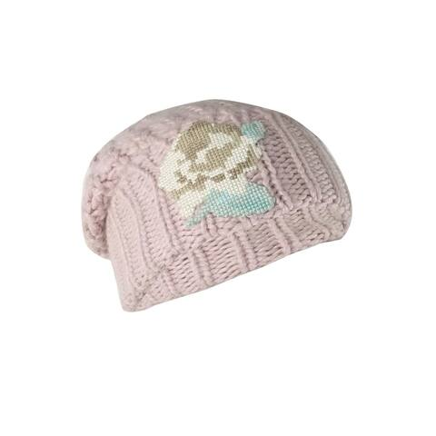 Free People Women's Everything Rosy Floral Applique Rib Beanie (OS, Blush) - OS
