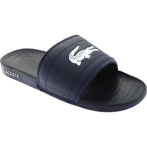 de1834afd943 Lacoste Men s Frasier Slide Sandal Navy White Synthetic
