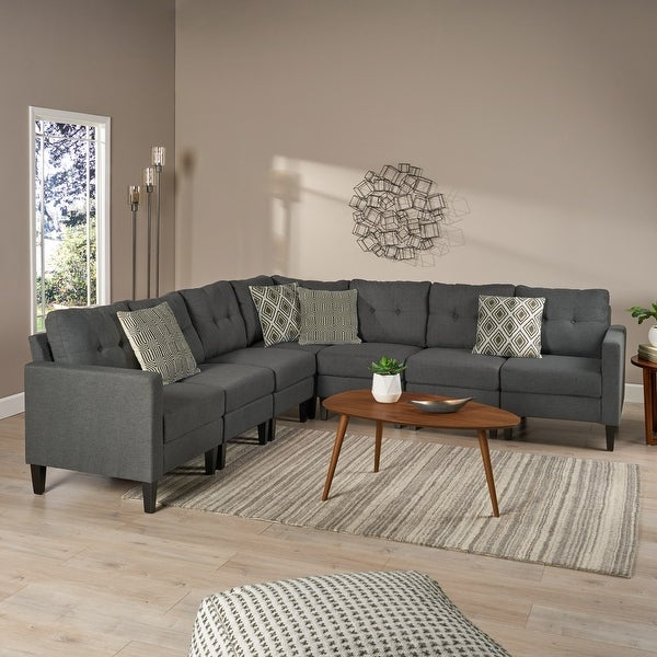 Emmie Mid Century Modern 7-piece Sectional Sofa Set by Christopher Knight Home. Opens flyout.