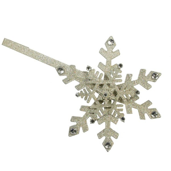 "18"" Diamante Glittered Snowflake Christmas Wreath Holder with Jewels Decoration - silver"