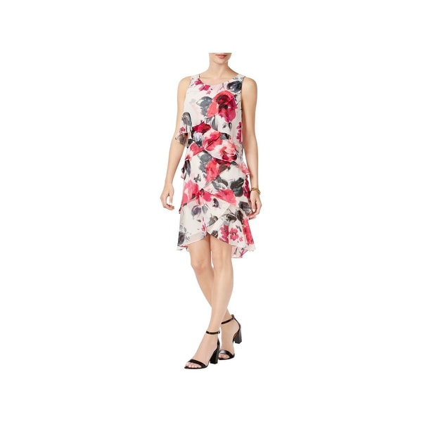 SLNY Womens Cocktail Dress Tiered Floral Print