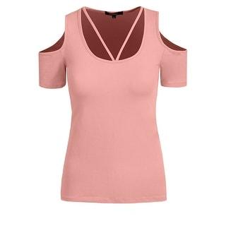 NE PEOPLE Womens Basic Open Shoulder Short Sleeve T-Shirts [NEWT198]
