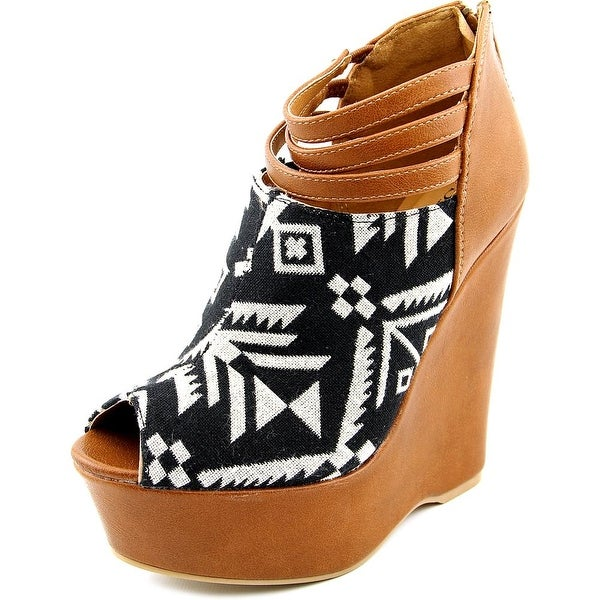 Famous Name Brand Tribe Women  Open Toe Synthetic Brown Wedge Heel