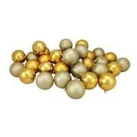 "96ct Vegas Gold 4-Finish Shatterproof Christmas Ball Ornaments 3.25"" (80mm)"