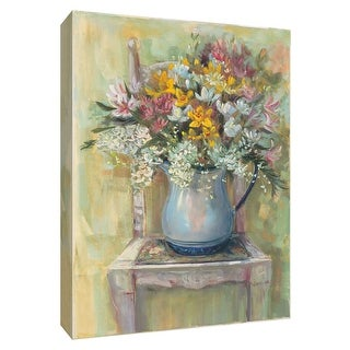 """PTM Images 9-154244  PTM Canvas Collection 10"""" x 8"""" - """"Flowers on Chair II"""" Giclee Flowers Art Print on Canvas"""