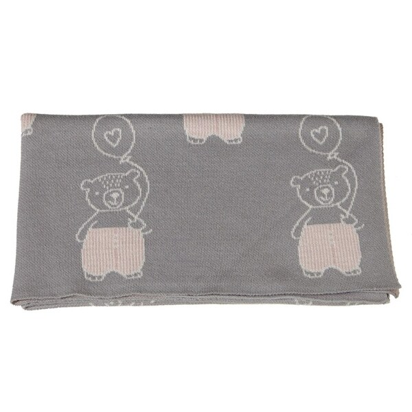 "36"" Gray Knit Bear with Balloon Baby Blanket Animal-Printed Baby Blanket"