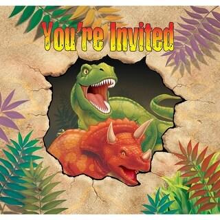 "Club Pack of 48 Dinosaur Blast Prehistoric Gate Fold Party Invitations 5"""