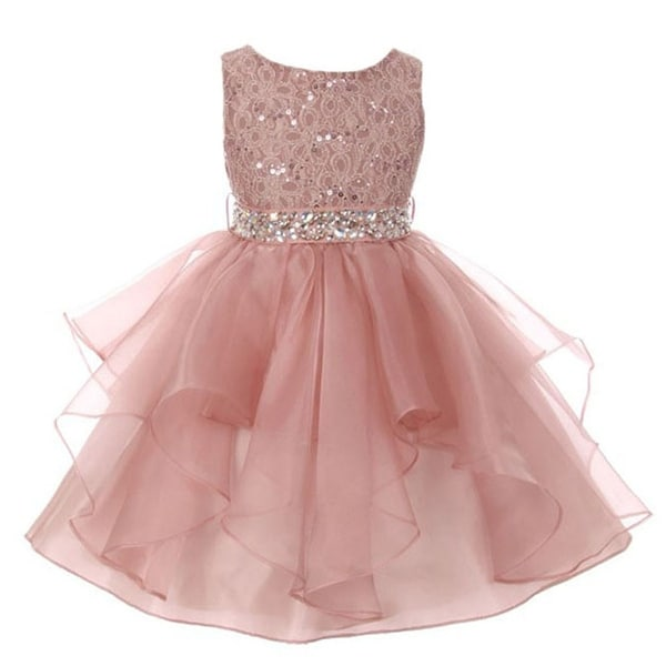 ccb4f26d95e Shop Little Girls Blush Pink Lace Crystal Tulle Ruffle Flower Girl Dress -  Free Shipping Today - Overstock - 18799567