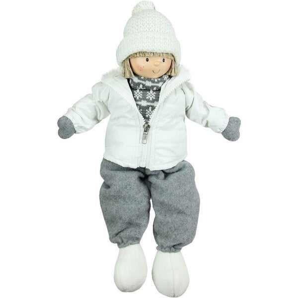 "16"" White and Gray Joyful Sitting Boy Christmas Tabletop Decoration"