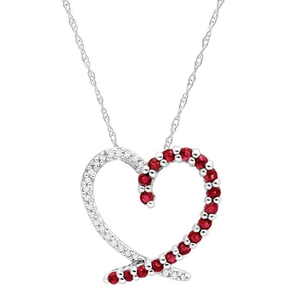1/2 ct Natural Ruby Heart Pendant with Diamonds in 14K White Gold