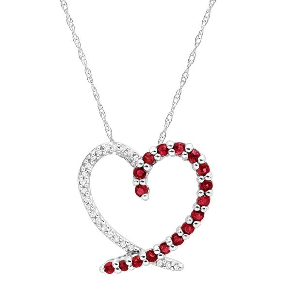 1/2 ct Natural Ruby Heart Pendant with Diamonds in 14K White Gold - Red