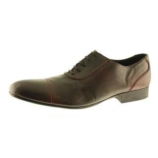 Zara Mens Leather Scalloped Trim Oxfords