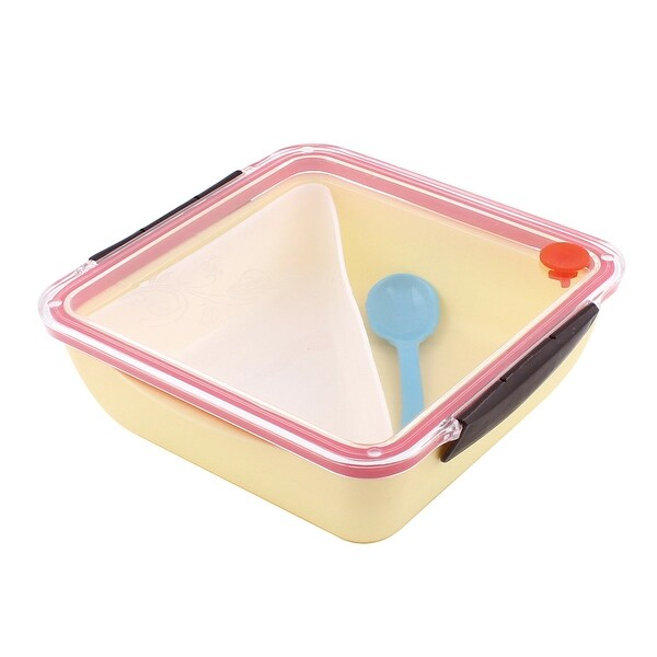 PP Square Shaped Picnic Lunch Box Lunchbox Food Storage Container Yellow W  Spoon