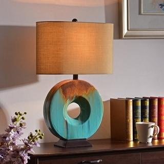 "Fenerty 26"" 3-Way Table Lamp - Teal Ceramic Glaze"