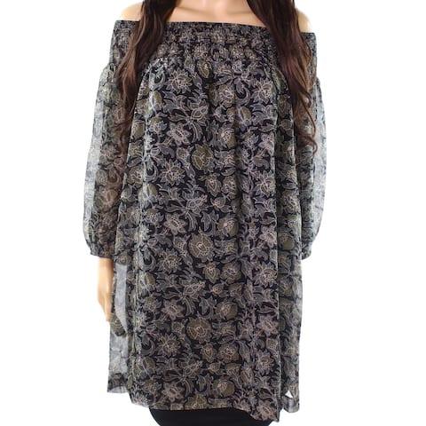 Susana Monaco Black Womens Size 4 Off-Shoulder Floral Tunic Top