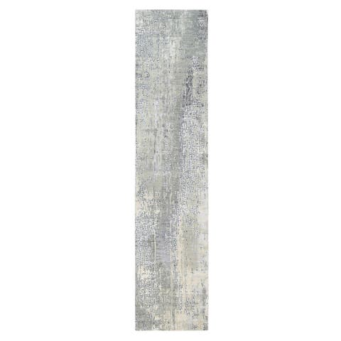 """Shahbanu Rugs Wool and Silk Taupe Abstract with Mosaic Design Hand Knotted Oriental Rug (2'7"""" x 11'8"""") - 2'7"""" x 11'8"""""""