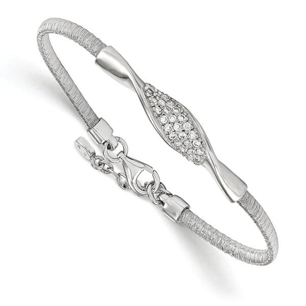 Italian Sterling Silver CZ with 1in ext. Bracelet - 7 inches