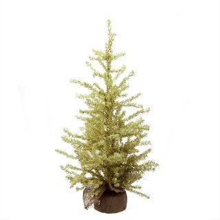 """2' x 12"""" Champagne Gold Tinsel Artificial Christmas Tree in Burlap Base - Unlit"""