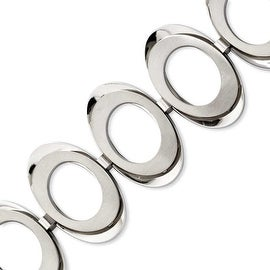 Stainless Steel Brushed & Polished Circles 7.75in with 1in ext Bracelet