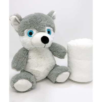 Boys and Girls Plush Gray Wolf With Blanket