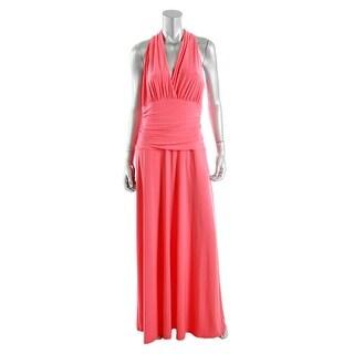 Nine West Womens Surplice Halter Evening Dress