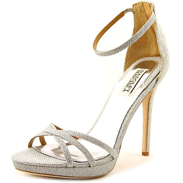 Badgley Mischka Signify Women Open Toe Canvas Silver Sandals