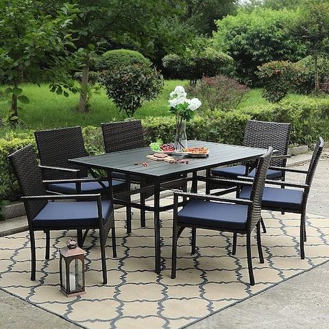PHI VILLA 7-piece Outdoor Bistro Dining Set with Rattan Garden Chairs
