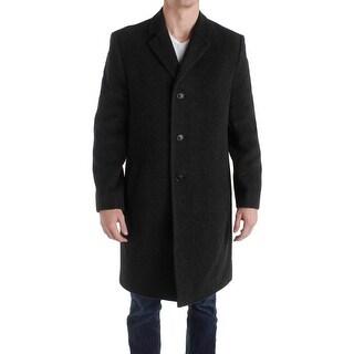 Perry Ellis Portfolio Mens Top Coat Wool Notched Collar
