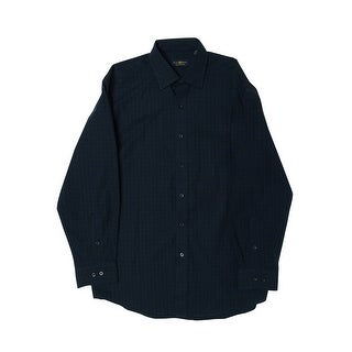 Club Room Men's Regular Fit Plaid Dress Shirt - hunter blackwatch - 15 1/2 - 32/33