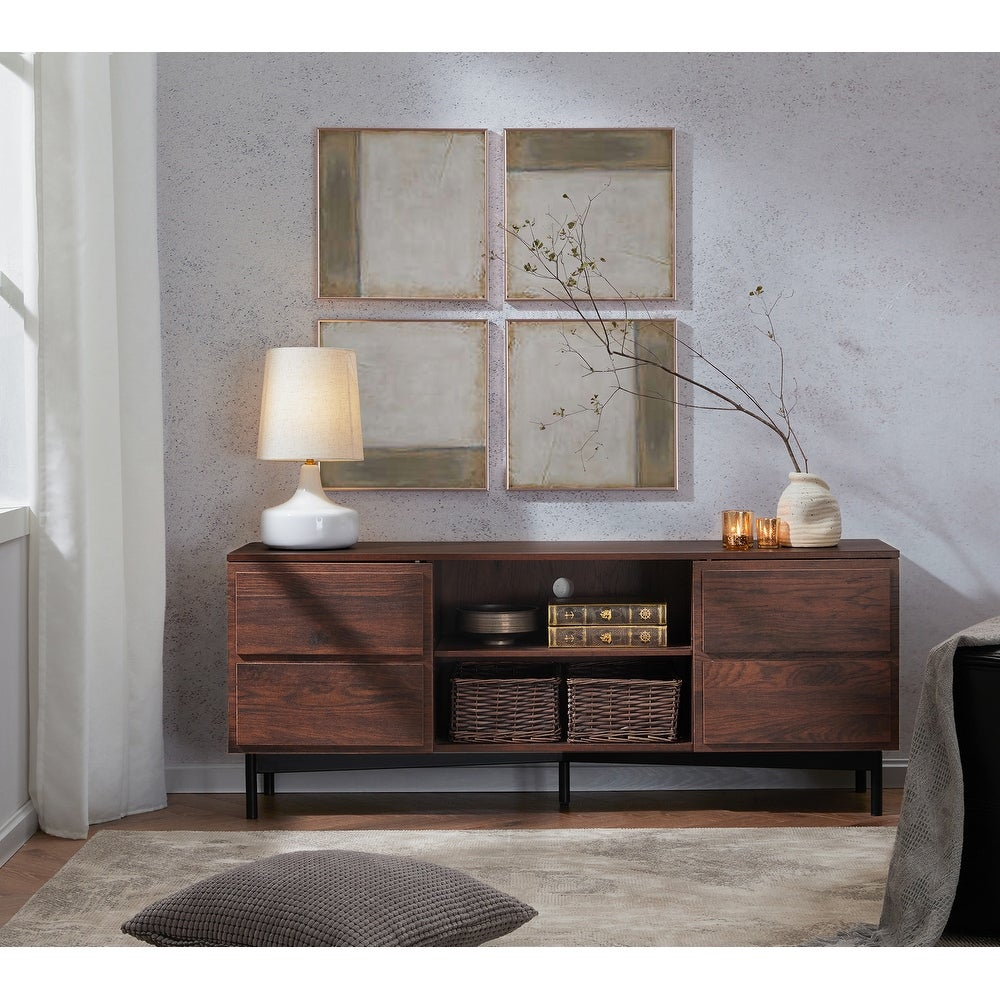 WAMPAT Modern Mid Century TV Stand Wood Entertainment Center with Media Shelf Console Cabinets - 65 inches (65 inches - Walnut)