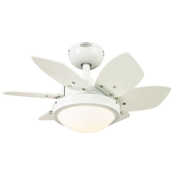 "Westinghouse 7247100 Quince 24"" 6 Blade Hanging Indoor Ceiling Fan with Reversible Motor, Blades, Light Kit, & Down Rod Included"