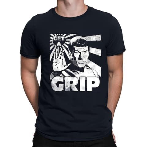 Star Trek Spock Get a Grip Men's Shirt, Navy