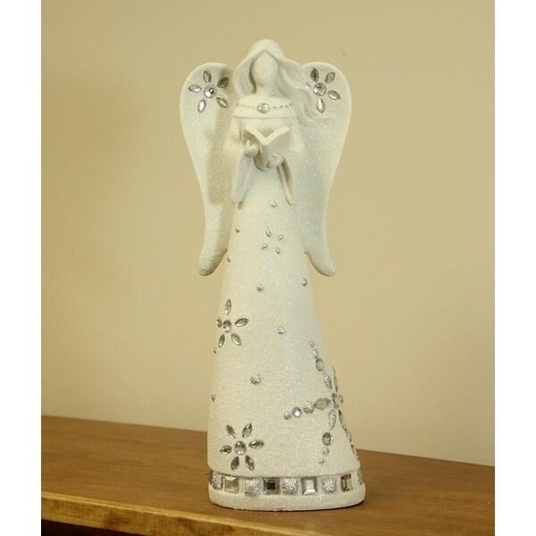 "12"" White Glittering Embellished Graceful Angel Christmas Tabletop Figure"