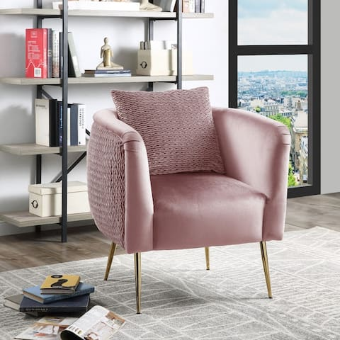 Natalie Velvet Barrel Accent Chair with Metal Legs