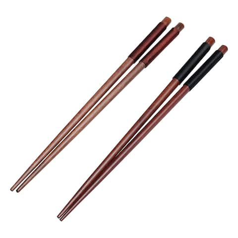 """Tableware Wood Food Meal Meat Sushi Noodle Eating Chopsticks 2 Pairs - 9"""" x 0.31""""(L*Max Dia)"""