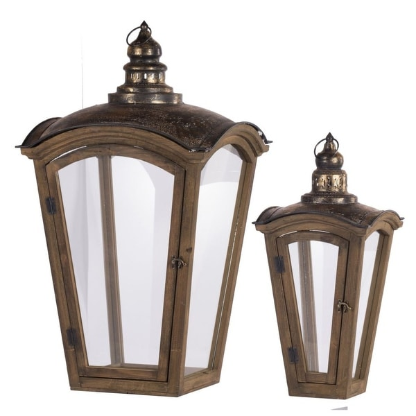 """Set of 2 Brown and Bronze Antique Style Coach House Lanterns 29.75"""" - N/A"""