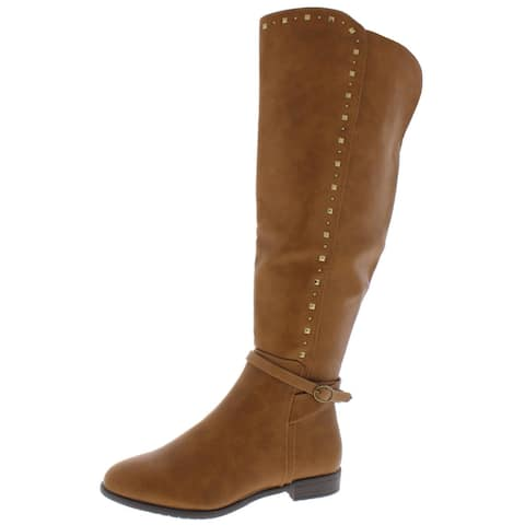 Rialto Womens Ferrell Over-The-Knee Boots Faux Leather Studded