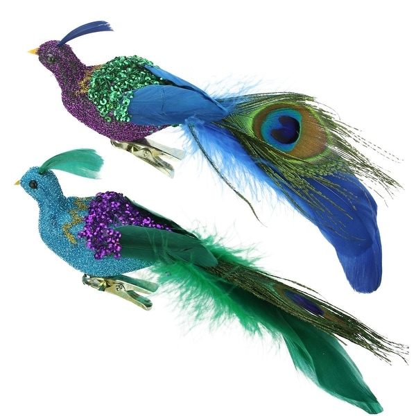 """8"""" Blue, Green and Purple Sequins Peacock Bird Clip-On Christmas Ornament - BLue"""