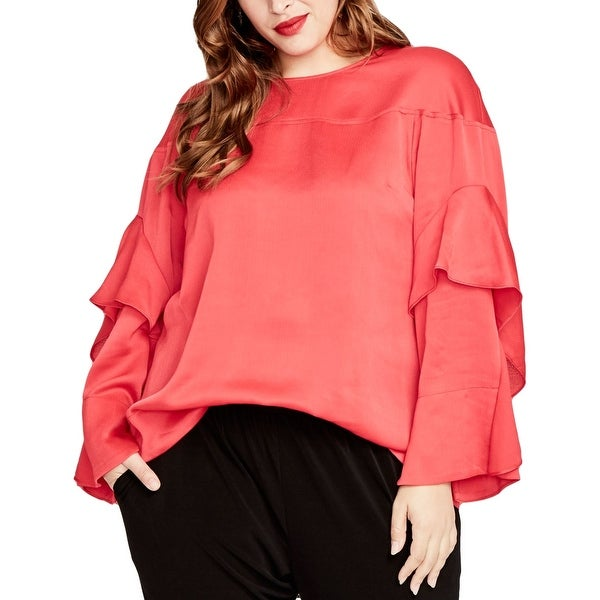 Rachel Rachel Roy Red Womens Size 3X Plus Ruffle Sleeve Blouse