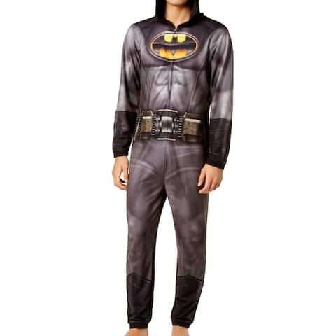 Batman Black Mens Size XL Logo Print Jumpsuit Hooded Sleepwear