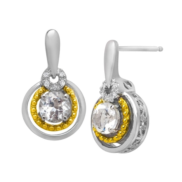 1 1/8 ct Topaz Drop Earrings with Diamonds in Sterling Silver & 14K Gold - White