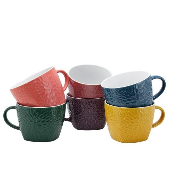 Elama Garden Glee 6-Piece 18 oz. Mug Set, Assorted Colors. Opens flyout.