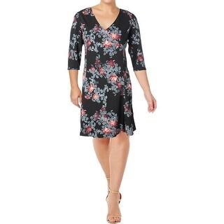 Junarose Womens Casual Dress Floral Print 3/4 Sleeves