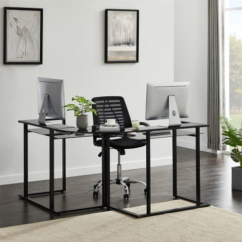 Merax Glass L-Shaped Computer Desk with Shelf and Round Corner
