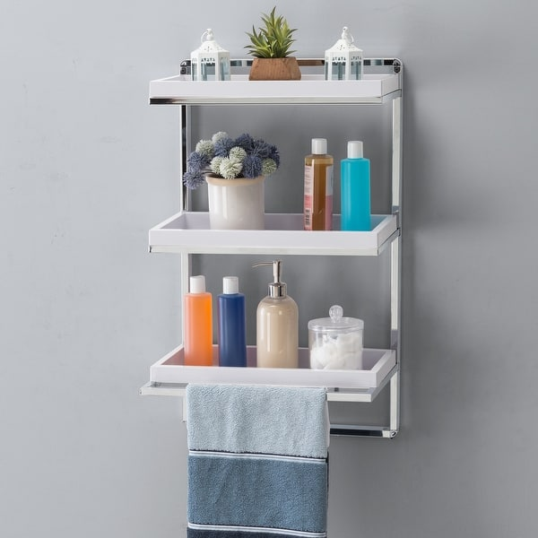 Wall Mount 3 Tier White And Chrome Bathroom Shelf With Towel Bar Overstock 31809907
