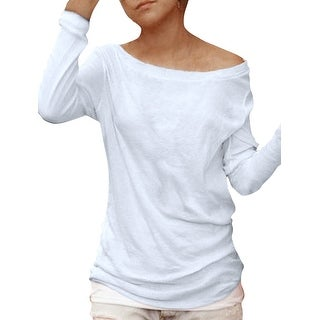 Unique Bargains Women's Long Sleeves Boat Neck Semi Sheer Pullover Shirt White (Size M / 8)