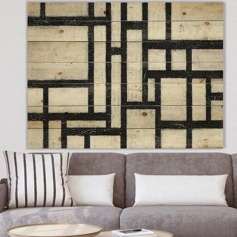 Designart 'Black and White Labyrinth geometric' Mid-Century Modern Print on Natural Pine Wood - Black