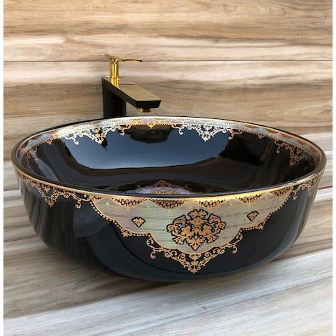 Victoria Classic Black Vitreous China Circular Vessel Bathroom Sink